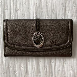 Brighton leather trifold wallet w/ silver detail